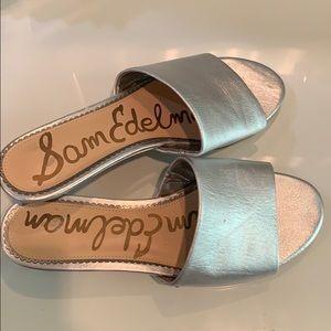 Sam Edelman Silver Slide Sandals
